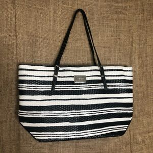 Nine West Large Striped Purse Black White Bag